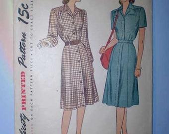 Vintage 40s Shirtwaist Dress Pattern 32