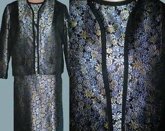 Vintage 60s Blue Brocade 3 Piece Suit NOS S