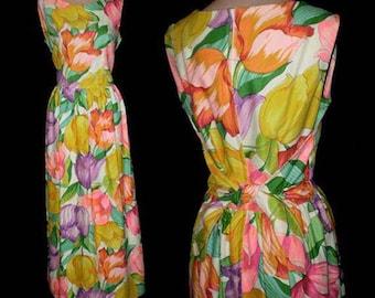 Vintage 60s Tulips Maxi Dress Park East Swirl S