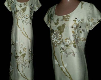 Vintage 60s Asian Floral Shift Dress Andrade Honolulu S