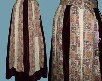 Vintage 70s Chessa Davis Patchwork Maxi Skirt Boho Hippie S M