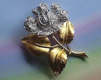 Vintage 80s Trifari Rose Pin Gold Silver