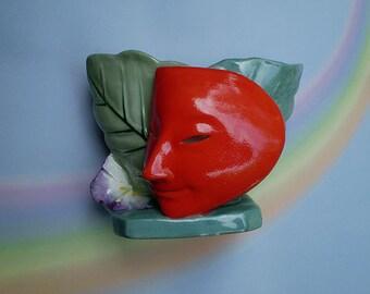Vintage 40s Deco Planter Japanese Mask Cache Pot