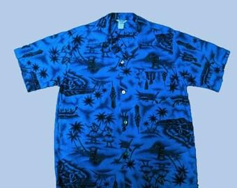Vintage 60s Blue Hawaii Aloha Shirt Hula Tiki M