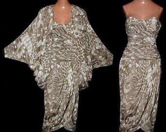 Vintage 80s Pat Richards by Michael Maiello Sarong Dress Cocoon Jacket XS NOS