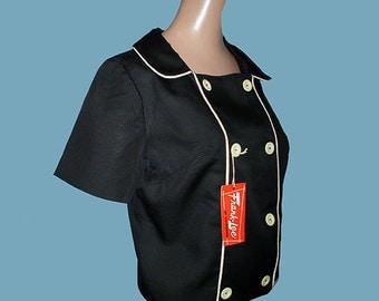 Vintage 60s Black White Jacket NOS S