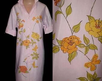 Vintage 60s Pink Floral Print Shirt Dress M