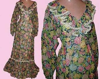 Vintage 70s Floral Maxi Dress Romantic XS