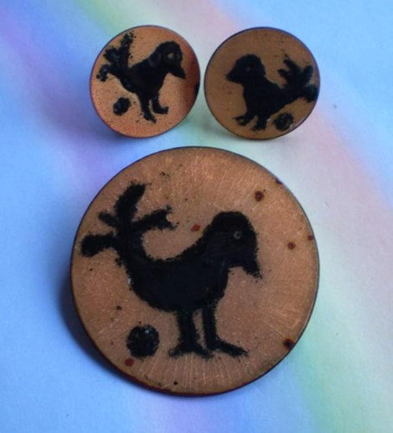 Vintage 50s Modern Copper Enamel Bird Pin Earrings