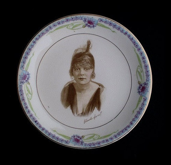 Vintage 20s Portrait Plate Blanche Sweet Silent Film Star