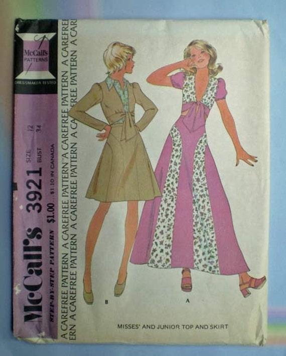 Vintage 70s Short or Maxi Skirt Top Pattern 34 Uncut