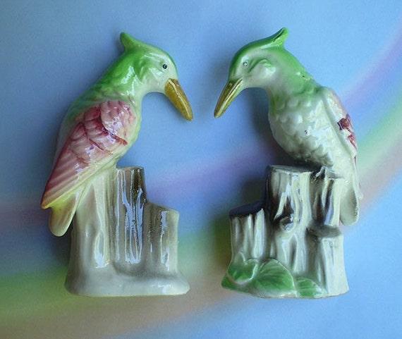 Vintage Japan Porcelain Bird Figurines Pair of Woodpeckers