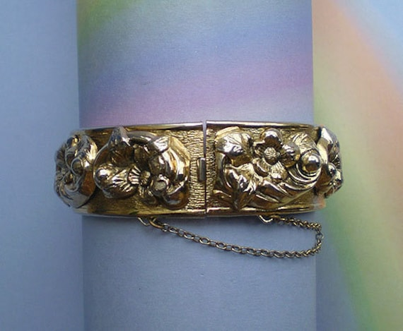 Vintage 40s Hinged Cuff Bracelet Floral Victorian Revival