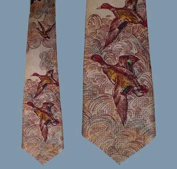 Vintage 50s Hand Painted Ducks Wide Tie Rhynecliffe