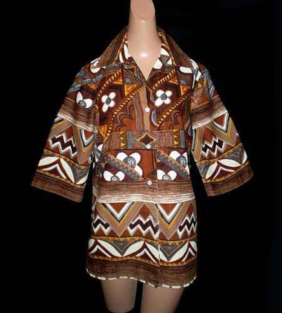 Vintage 60s Hawaiian Barkcloth Tunic Top M