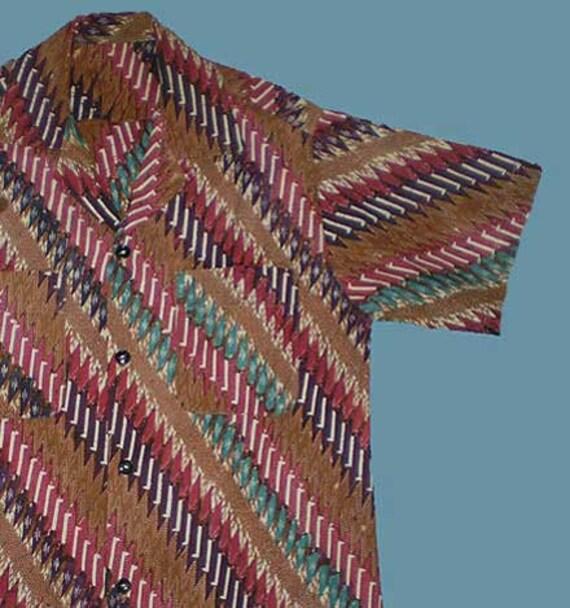 Vintage 60s Cotton Batik Sport Shirt S