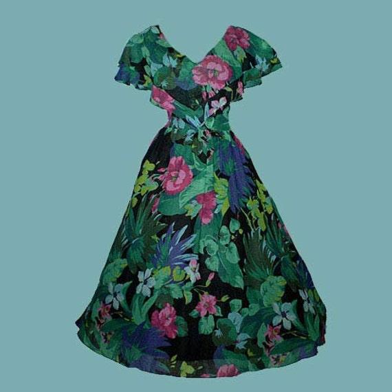 Vintage 80s Full Skirt Floral Dress S