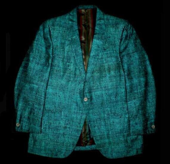 RESERVED FOR hornet7007 Vintage 60s Turquoise Black Silk Tweed Jacket 40