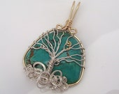 Gold and Silver Turquoise Tree of Life Pendant