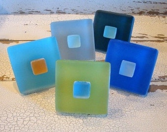 Two Beach Glass Knobs Drawer Pull Cabinet Knob Sea Green Blue Lime Yellow Nautical Decor