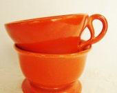 reserved for Jane -  vintage gladding mcbean flame orange cup and sherbet