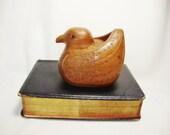 carved wood vintage bird figurine stash box