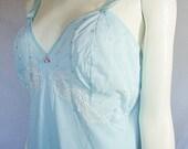 vintage blue nylon slip size 36