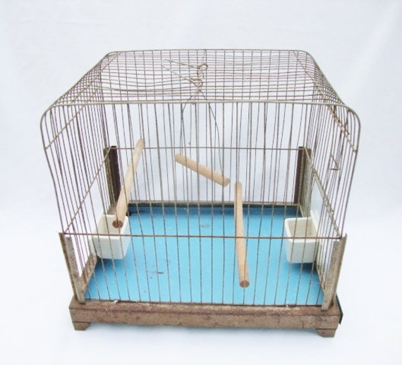 Vintage canary bird cage with feeders and swing