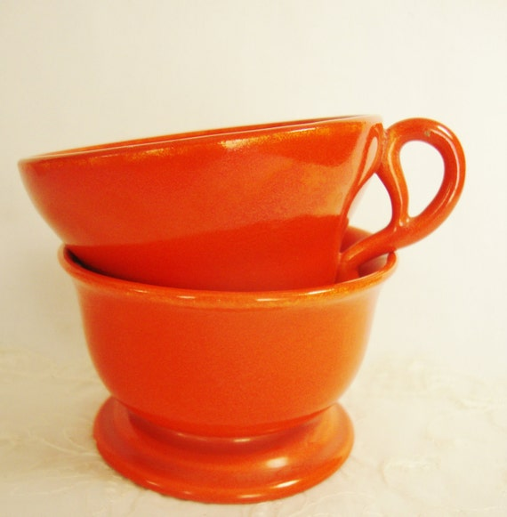 reserved for Jane -  vintage gladding mcbean flame orange cup and sherbet