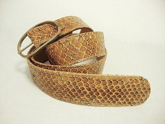 vintage tan leather snakeskin belt 1980s