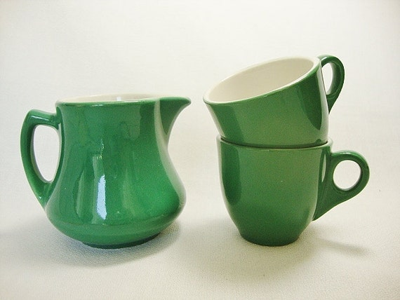 reserved for Diana -vintage green shenango pottery demitasse espresso cappuccino cups pitcher