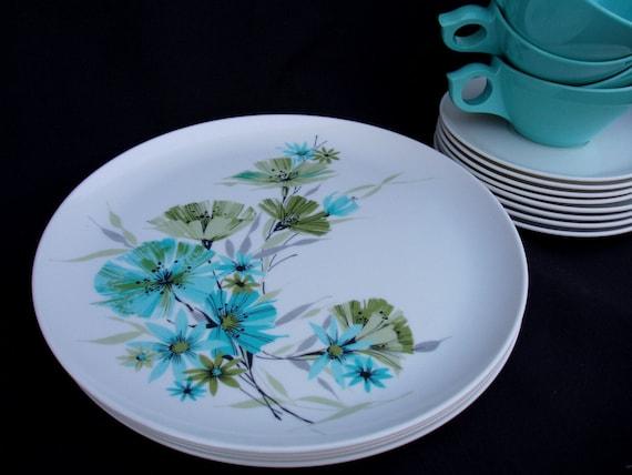 Vintage Melamine Dinnerware 1960s Turquoise 16 Pieces Laguna