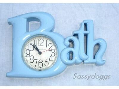 Vintage bath blue bathroom clock plastic retro mod burwood for Bathroom clock ideas