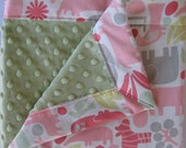 2D Zoo Animals Pink and Green Minky Baby to Toddler Blanket