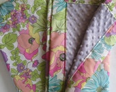 Vintage Flower Garden Minky Baby to Toddler Blanket