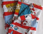 Dr. Seuss Characters On Stripes Minky Baby to Toddler Blanket