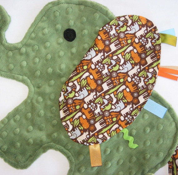 Olive Zoo Elephant Blanket Sensory Lovey