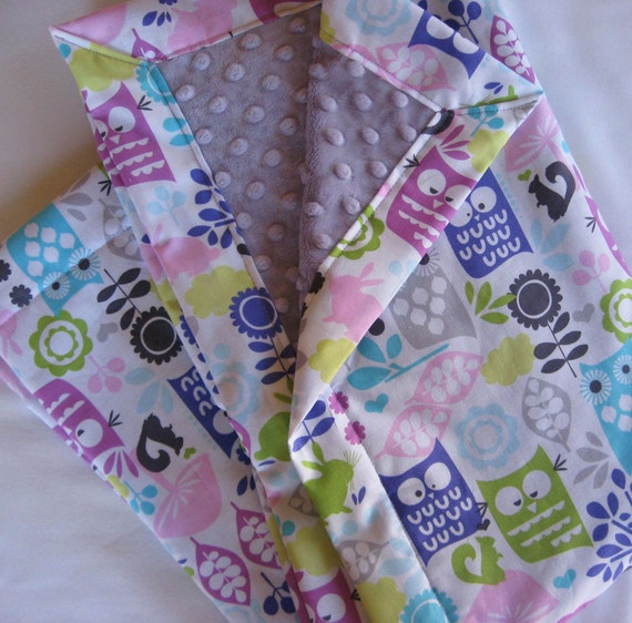 Owls and Forest Friends Lavender Minky Baby to Toddler Blanket