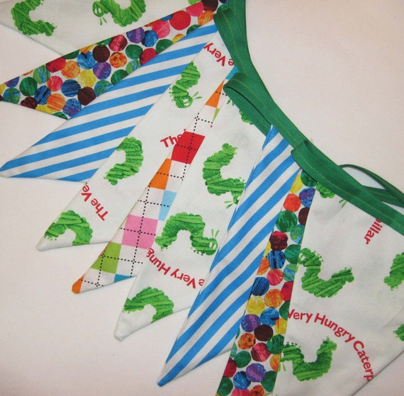 Very Hungry Caterpillar Fabric Bunting Banner - Party Flags or Room Decor