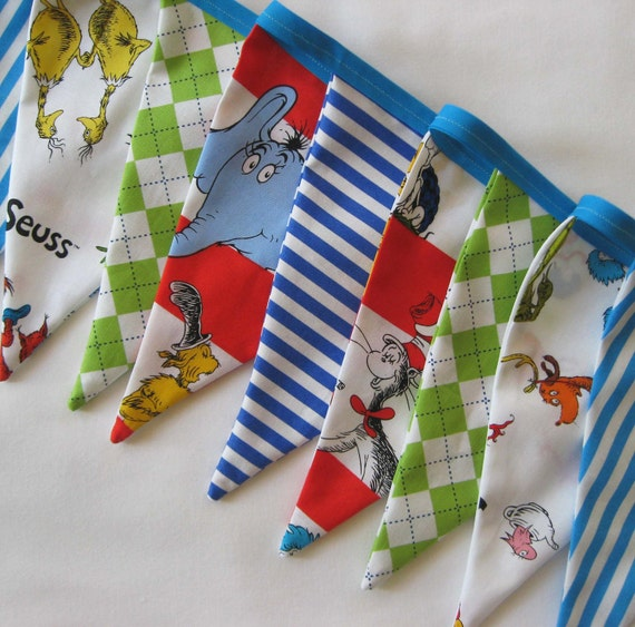 Dr. Suess Fabric Bunting Banner - Birthday Party Flags or Room Decor
