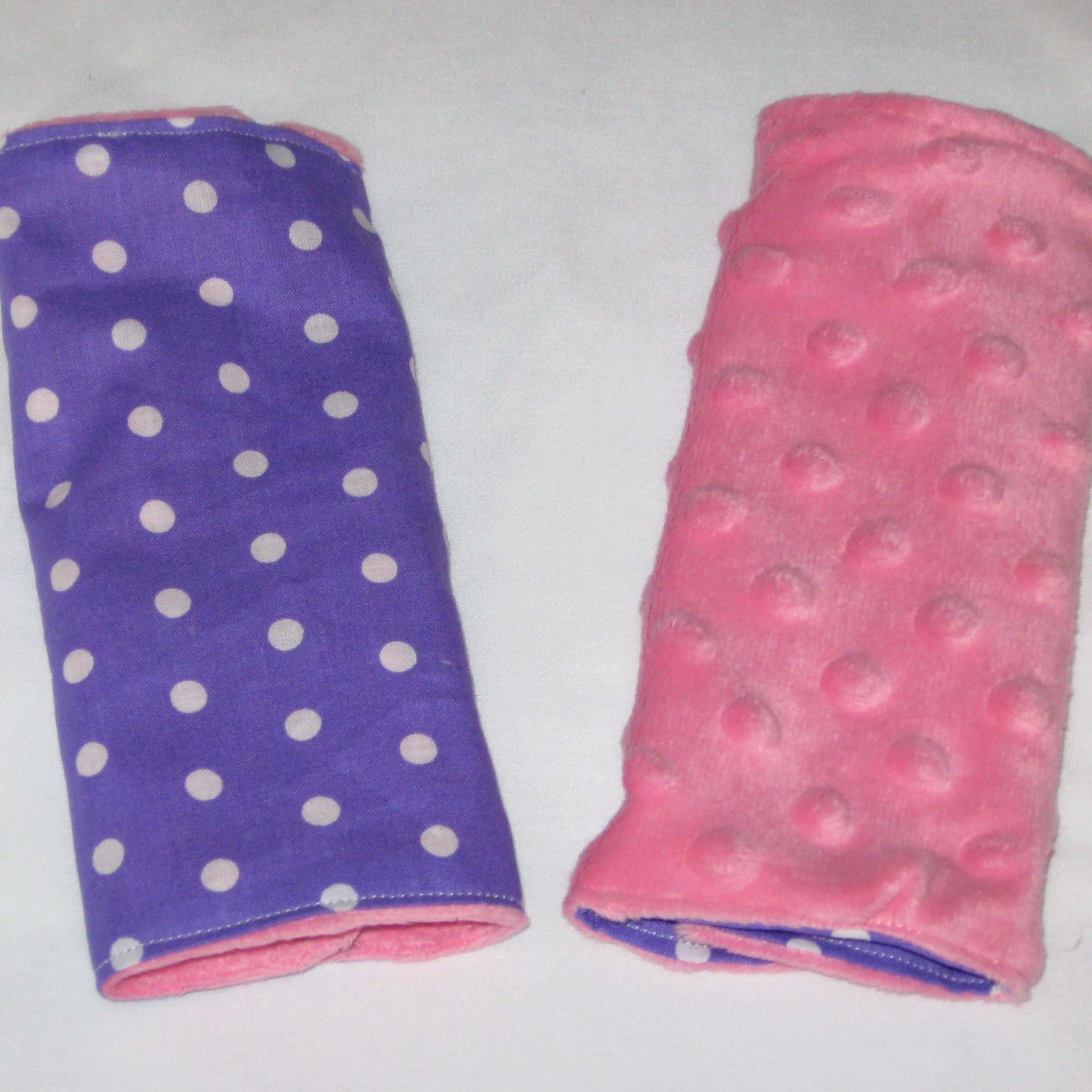purple pink and white polka dot car seat strap covers. Black Bedroom Furniture Sets. Home Design Ideas
