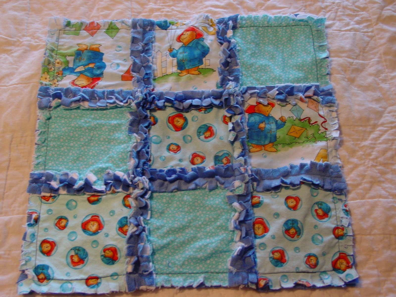 Rag Quilt Pattern Bear : SALE Paddington Bear Play Day Rag Quilt Lovey by IcingOnTheCupcake