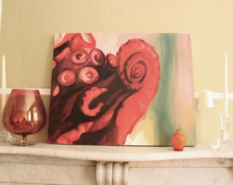 Red Tentacle Original Oil Painting by Christina Batch-Lee