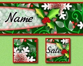 HOLLY-DAY COLOR ------ Premade Etsy Shop Banner Avatar Set - One Of A Kind (ooak) & Fabulous - by Accentuate