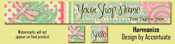HARMONIZE ------ Premade Etsy Shop Banner Avatar Set - One Of A Kind (OOAK) & Fabulous - by Accentuate