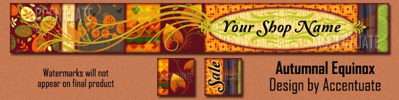 AUTUMNAL EQUINOX ------ Premade Etsy Shop Banner Avatar Set - One Of A Kind (OOAK) & Fabulous - by Accentuate