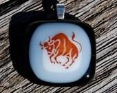 Sale Taurus Bull Fused Glass Pendant