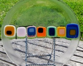 Colorful Plate Fused Art Glass Housewarming or Wedding Gift, Tray, Appetizer, Serving Platter