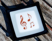 Music Notes Ring Holder  - Trinket Dish - Spoon Rest - Jewelry Holder - Fused Glass Dish