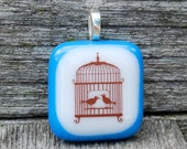 SALE Birdcage and Love Birds Fused Glass Pendant Handmade Jewelry